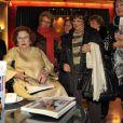 """Jeanne Augier, proprietaire et directrice du Negresco, en dédicace de son livre """"La dame du Negresco"""" dans le salon Versailles de l'hôtel à Nice le 8 janvier 2013."""