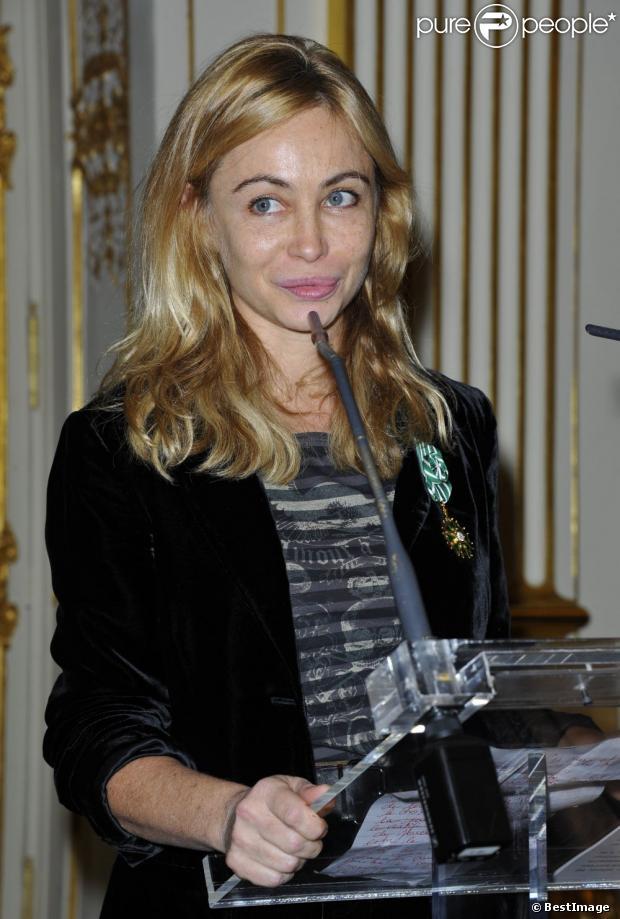 Emmanuelle Béart le 27 novembre 2012 lors de sa remise de décoration d'Officier de l'ordre des Arts et des Lettres le 27 novembre 2012