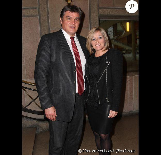 David Douillet et sa femme Valerie au Diner de Gala de la French American Foundation France au Palais d'Iena à Paris le 27 Novembre 2012.