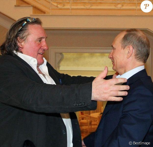 Gérard Depardieu reçu par Vladimir Poutine à Sotchi, le 5 janvier 2013.