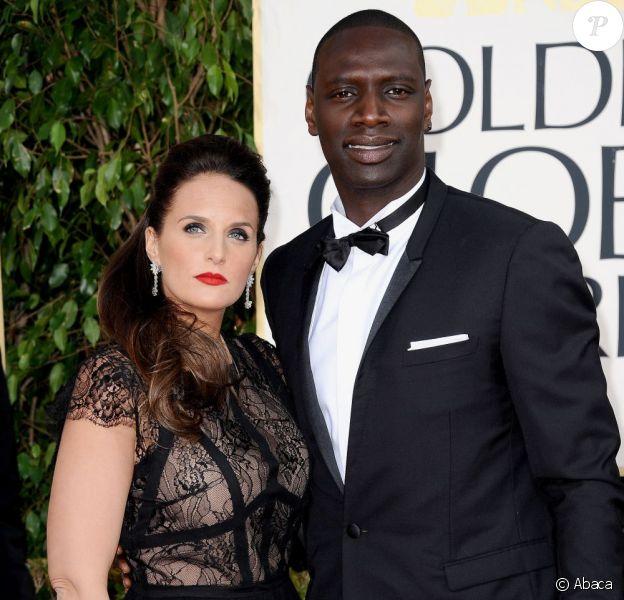 Omar Sy et sa femme Hélène lors des Golden Globes le 13 janvier 2013
