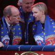 Albert et Charlene de Monaco, complicesau 37e Festival International du Cirque de Monte-Carlo le 17 janvier 2013.