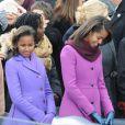 Sasha et Malia lors de la cérémonie d'investiture de leur père qui se tenait devant le Capitole de Washington le 21 janvier 2013