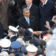 Barack Obama lors de la cérémonie d'investiture qui se tenait devant le Capitole de Washington le 21 janvier 2013