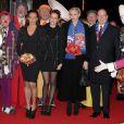 Stéphanie de Monaco arrive avec sa fille Pauline Ducruet, le prince Albert et la princesse Charlene au gala de remise des prix au 37e Festival international du cirque de Monte-Carlo, le 22 janvier 2013 au chapiteau Fontvieille.