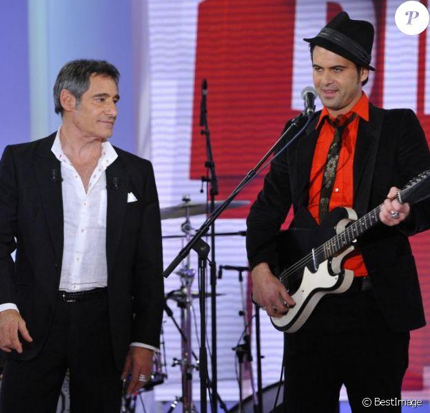 Gérard Lanvin et son fils Manu Lanvin lors de l'enregistrement de l'émission Vivement Dimanche, le 23 Janvier 2013