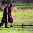 La reine Elizabeth II et son mari le duc d'Edimbourg ainsi que leurs invités prenaient part le dimanche 20 janvier 2013 à une messe en l'église Ste Marie Madeleine de Sandringham.