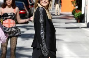 Heidi Klum : Cuir et transparence pour une journée de mode sexy