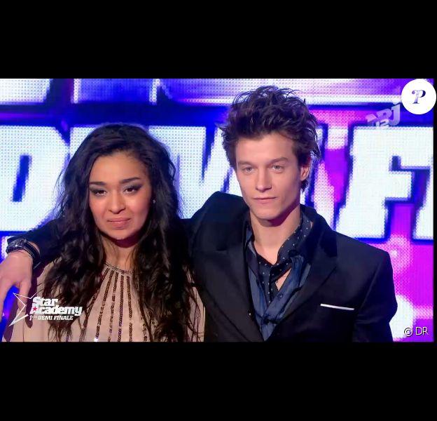 Zayra et Sidoine lors de la première demi-finale de la Star Academy 9, jeudi 14 février 2013 sur TF1