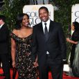 Denzel Washington avec sa femme Pauletta Washington lors des Golden Globes 2013