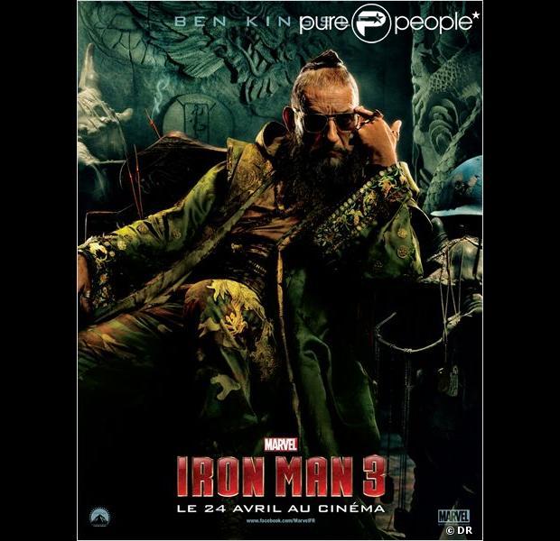 Affiche teaser du film iron man 3 avec ben kingsley alias le mandarin