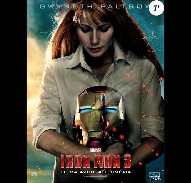 Affiche teaser du film Iron Man 3 avec Gwyneth Paltrow alias Pepper Potts