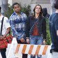 Jessica Stroup et Tristan Wilds sur le tournage de la série 90210 à Los Angeles, le 28 février 2013.