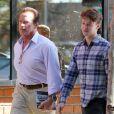 Exclu - Arnold Schwarzenegger et son fils Patrick vont déjeuner au restaurant à Brentwood, le 11 février 2013.