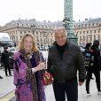 Marta Marzotto et Massimo Gargia arrivent à l'Espace Vendôme pour assister au défilé Moncler Gamme Rouge automne-hiver 2013. Paris, le 6 mars 2013.