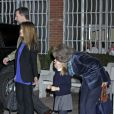 Queen Sofia, Prince Felipe and Letizia with their daughters Princess Leonor and Sofia visit Juan Carlos in Madrid, Wednesday March 6, 201306/03/2013 - Madrid