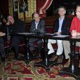 """Anne Loiret, Régis Wargnier, Pierre Lescure, Nicolas Candoni et Patrice Leconte - Conférence de presse """"Palmarès du Theatre 2013"""" à la brasserie Zimmer a Paris. Le 8 mars 2013."""
