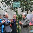 Anne Hidalgo, Gilbert Mitterrand, Bertrand Delanoe et Jean Tiberià l'inauguration du square Danielle Mitterrand au 20 rue de Bievre à Paris le 8 mars 2013.
