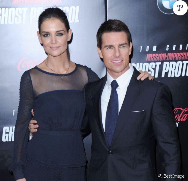 Katie Holmes et Tom Cruise lors de l'avant-première du film Mission : Impossible à New York le 19 décembre 2011