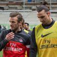 David Beckham et Zlatan Ibrahimovic lors du match entre l'AS Saint-Etienne et le Paris Saint-Germain au stade Geoffroy Guichard de Saint-Etienne le 17 mars 2013 (2-2)
