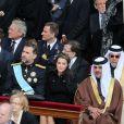 Le prince Felipe et la princesse Letizia d'Espagne lors de la messe inaugurale du pape François au Vatican, sur la place Saint-Pierre, le 19 mars 2013, en présence de dignitaires de 132 états, dont nombre de figures royales, telles que le prince Albert et la princesse Charlene de Monaco, le prince Felipe et la princesse Letizia d'Espagne, le prince Willem-Alexander et la princesse Maxima des Pays-Bas, le roi Albert II et la reine Paola de Belgique...