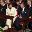 Le grand-duc et la grande-duchesse Maria Teresa de Luxembourg. Le pape François célébrait la messe inaugurale de son pontificat au Vatican, sur la place Saint-Pierre, le 19 mars 2013, en présence de dignitaires de 132 états, dont nombre de figures royales, telles que le prince Albert et la princesse Charlene de Monaco, le prince Felipe et la princesse Letizia d'Espagne, le prince Willem-Alexander et la princesse Maxima des Pays-Bas, le roi Albert II et la reine Paola de Belgique...