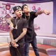 Chris Brown avec son ami le rappeur Bow Wow sur le plateau de l'émission  106 and Park  à New York, le 1er avril 2013.