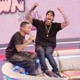 Chris Brown dans l'émission  106 and Park  au côté de son ami le rappeur Bow Wow, le 1er avril 2013.