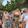 Le top brésilien Isabeli Fontana pose pour la marque Morena Rosa à Rio de Janeiro, le 2 avril 2013.