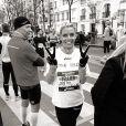 Sylvie Tellier lors du marathon de Paris, le 7 avril 2013.