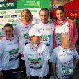 Les Miss Sylvie Tellier, Laury Thilleman, Laetitia Bleger et Marine Lorphelin, Sylvie Tellier ont couru le 37e Marathon de Paris pour Mécénat Chirurgie Cardiaque le 7 avril 2013.