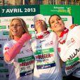 Sylvie Tellier, Laetitia Bleger, Marine Lorphelin, fières de courir le 37e Marathon de Paris pour Mécénat Chirurgie Cardiaque le 7 avril 2013.