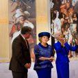 La reine Beatrix à la Grote Kerk de La Haye le 24 avril 2013 pour sa dernière mission officielle en tant que souveraine des Pays-Bas, pour l'inauguration d'une exposition Huygens.
