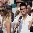 Novak Djokovic, interrogé par Tatiana Golovin après sa victoire lors de son entrée en lice au Masters 1000 de Monte-Carlo le 17 avril 2013 face à Mikhail Youzhny