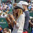 Jelena Ristic encourage son homme Novak Djokovic pour son entrée en lice au Masters 1000 de Monte-Carlo le 17 avril 2013 face à Mikhail Youzhny