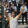 Novak Djokovic lors de sa victoire lors de son entrée en lice au Masters 1000 de Monte-Carlo le 17 avril 2013 face à  Mikhail Youzhny