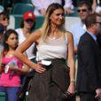 Tatiana Golovin prête à interviewer Novak Djokovic après sa victoire face à Mikhail Youzhny le 17 avril 2013 lors du tournoi de Monte-Carlo