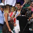 Tatiana Golovin et Novak Djokovic après sa victoire face à Mikhail Youzhny le 17 avril 2013 lors du tournoi de Monte-Carlo