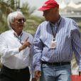 Niki Lauda, Bernie Ecclestone lors du Grand Prix de Bahreïn à Sakhir, le 21 avril 2013