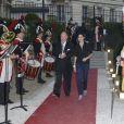 Gérard Lhéritier et Rachida Dati à l'inauguration du nouvel Institut deslettres et des manuscrits à Paris, le 24 avril 2013.