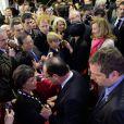Valérie Trierweiler et François Hollande rencontraient la communauté française installée à SHanghailors d'une soirée organisée au consulat français le 26 avril 2013, en conclusion de la visite officielle de François Hollande en Chine