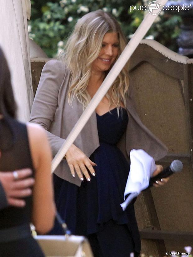 Fergie, enceinte, a assisté au mariage de sa petite soeur Dana Ferguson à San Marcos, le 27 avril 2013.