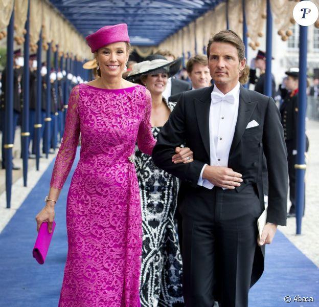 Le prince Maurits d'Orange-Nassau et la princesse Marilène à Amsterdam le 30 avril 2013 pour la prestation de serment du roi Willem-Alexander en la Nouvelle Eglise.