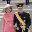 La princesse Mathilde et le prince Philippe de Belgique à Amsterdam le 30 avril 2013 pour la prestation de serment de Willem-Alexander des Pays-Bas.