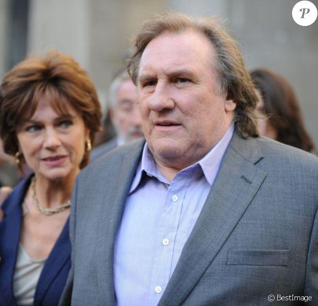 Gérard Depardieu et Jacqueline Bisset sur le tournage du film Welcome to New York le 3 mai 2013