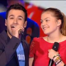 "Louane et Anthony Touma entonnant ""She's gone"" dans The Voice 2 sur TF1."