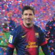 Lionel Messi au Camp Nou lors des célébrations du titre de champion d'Espagne du FC Barcelone le 19 mai 2013.