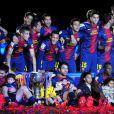 Les joueurs du Barça fêtent le titre de champion d'Espagne le 19 mai 2013.