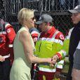La Princesse Charlene rend visite aux membres de la Croix Rouge qui seront sur le circuit du Grand Prix de Formule 1 de Monaco.