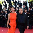 Christian Clavier et sa femme posent à la montée des marches du film The Immigrant au Palais des Festivals à Cannes, le 24 mai 2013.